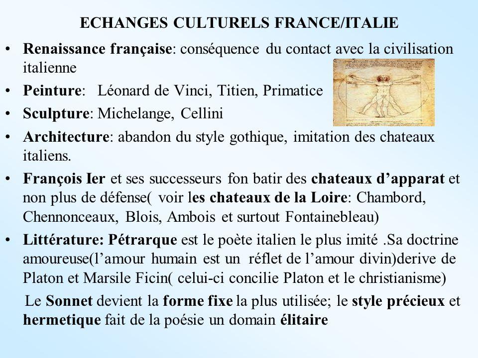 ECHANGES CULTURELS FRANCE/ITALIE Renaissance française: conséquence du contact avec la civilisation italienne Peinture: Léonard de Vinci, Titien, Prim