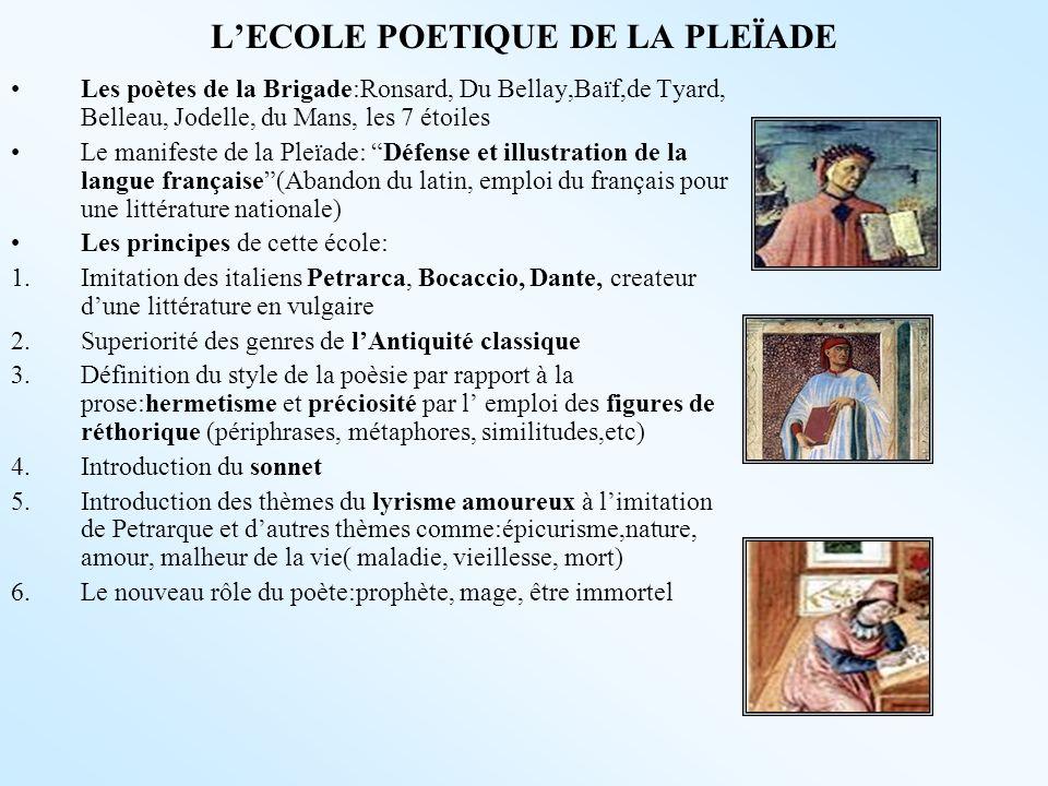LECOLE POETIQUE DE LA PLEÏADE Les poètes de la Brigade:Ronsard, Du Bellay,Baïf,de Tyard, Belleau, Jodelle, du Mans, les 7 étoiles Le manifeste de la P