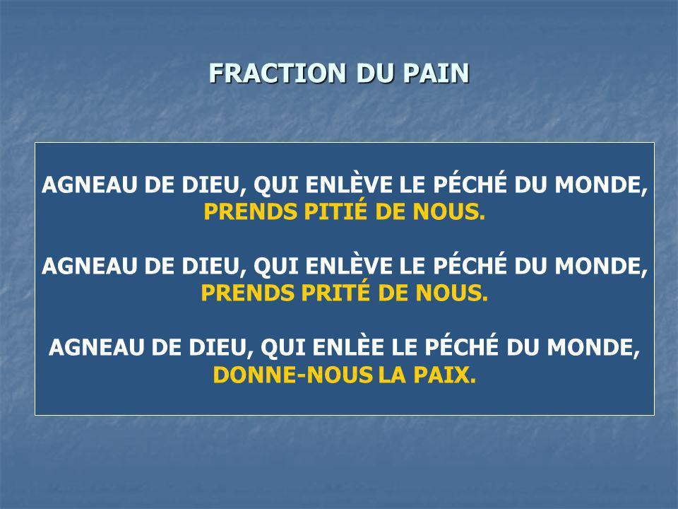 FRACTION DU PAIN AGNEAU DE DIEU, QUI ENLÈVE LE PÉCHÉ DU MONDE, PRENDS PITIÉ DE NOUS.