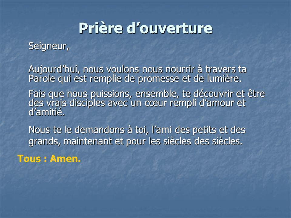 Prière douverture Seigneur, Aujourdhui, nous voulons nous nourrir à travers ta Parole qui est remplie de promesse et de lumière.