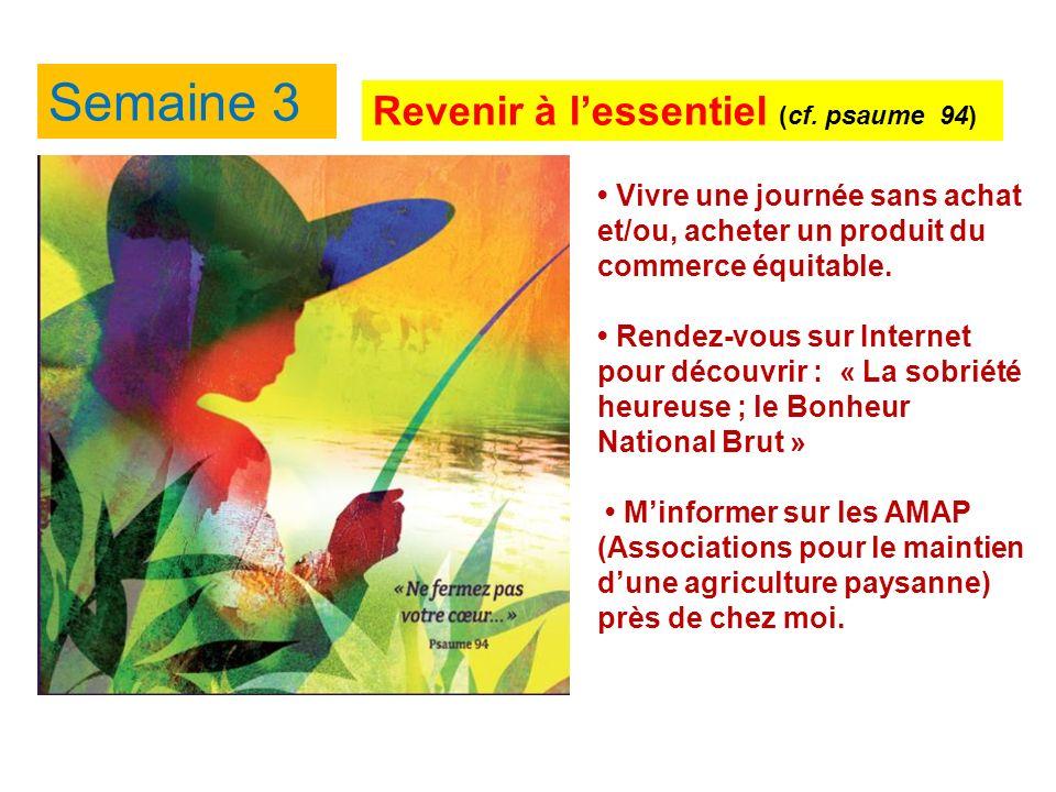 Semaine 3 Revenir à lessentiel (cf.