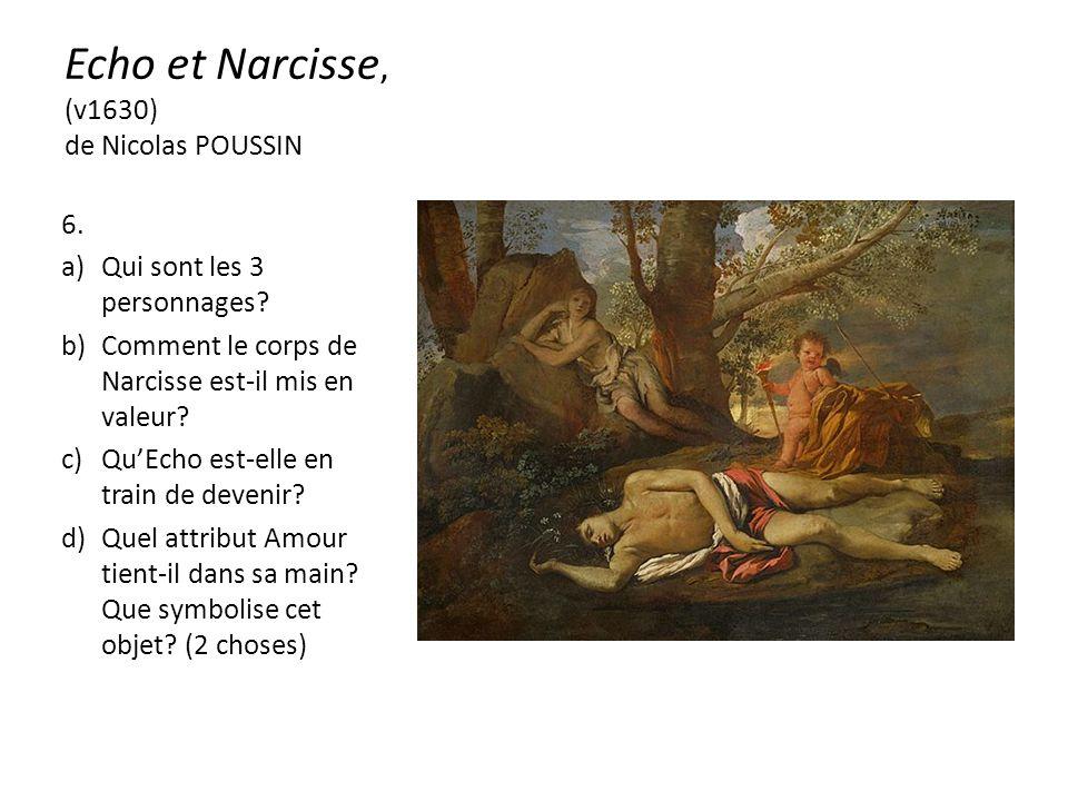 Echo et Narcisse, (v1630) de Nicolas POUSSIN 6. a)Qui sont les 3 personnages.