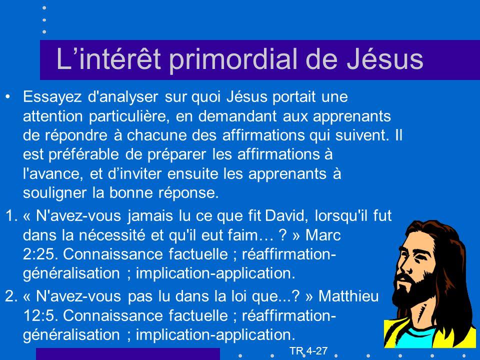 Lintérêt primordial de Jésus Essayez d'analyser sur quoi Jésus portait une attention particulière, en demandant aux apprenants de répondre à chacune d