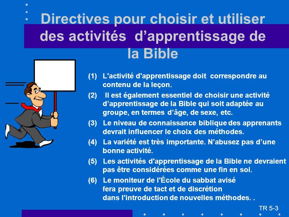 Directives pour choisir et utiliser des activités dapprentissage de la Bible (1)L'activité d'apprentissage doit correspondre au contenu de la leçon. (