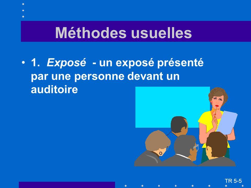 Méthodes usuelles 1.Exposé - un exposé présenté par une personne devant un auditoire TR 5-5