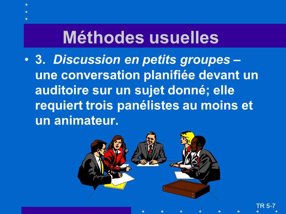3.Discussion en petits groupes – une conversation planifiée devant un auditoire sur un sujet donné; elle requiert trois panélistes au moins et un animateur.
