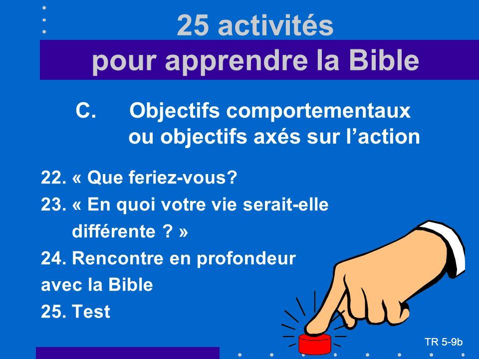 C. Objectifs comportementaux ou objectifs axés sur laction 22.