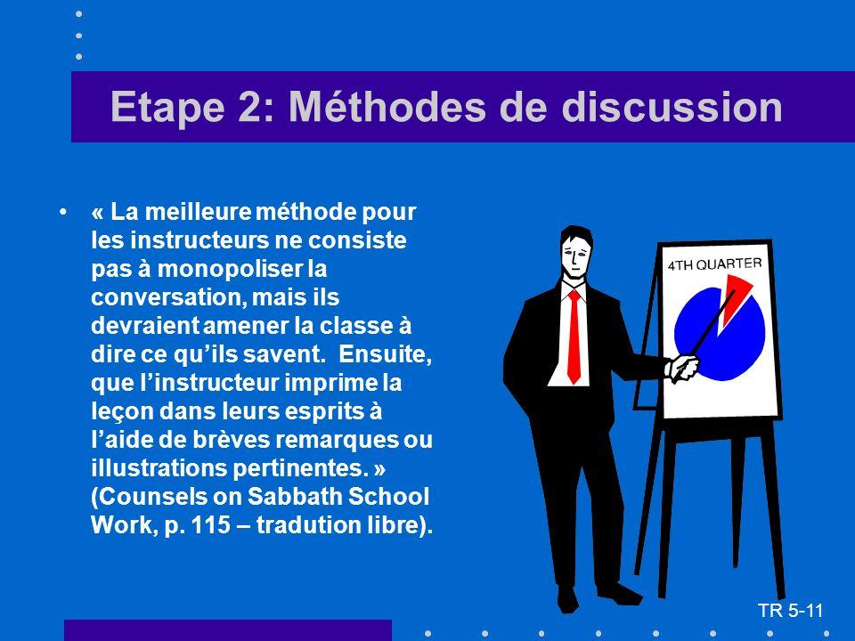 Etape 2: Méthodes de discussion TR 5-11 « La meilleure méthode pour les instructeurs ne consiste pas à monopoliser la conversation, mais ils devraient amener la classe à dire ce quils savent.