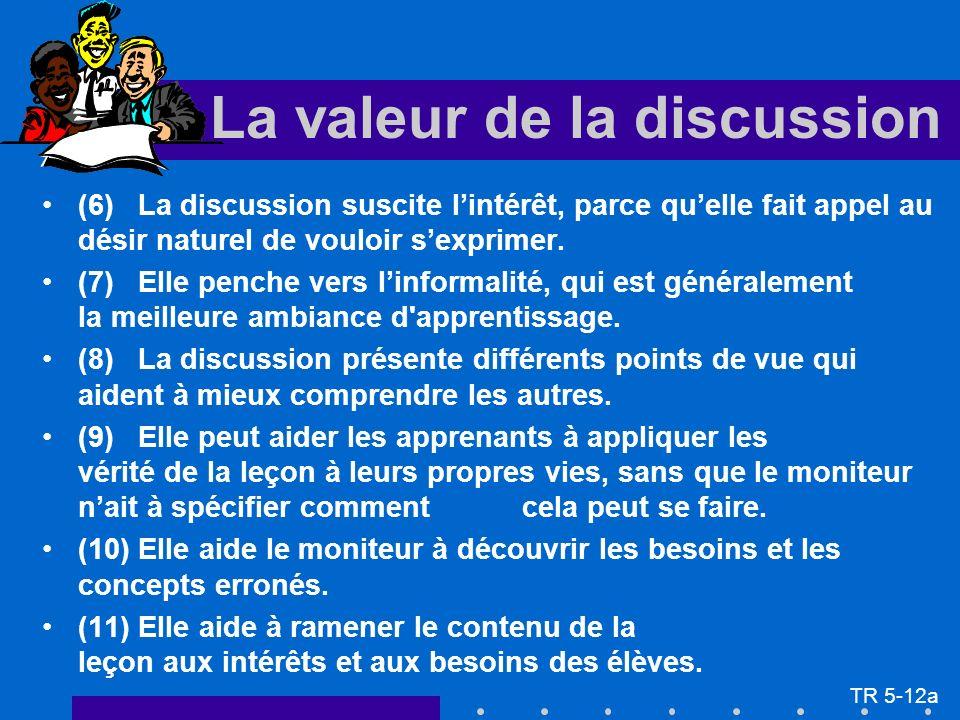 (6) La discussion suscite lintérêt, parce quelle fait appel au désir naturel de vouloir sexprimer. (7) Elle penche vers linformalité, qui est générale