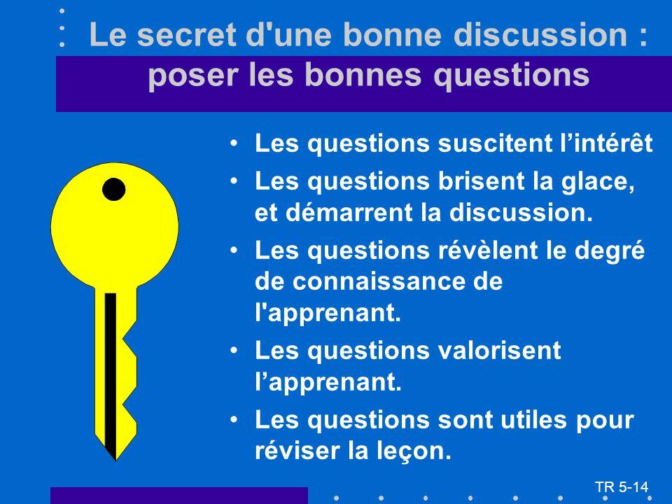 Le secret d'une bonne discussion : poser les bonnes questions Les questions suscitent lintérêt Les questions brisent la glace, et démarrent la discuss