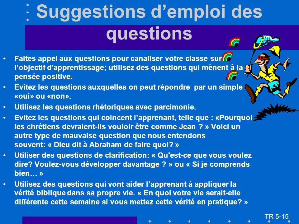 Suggestions demploi des questions Faites appel aux questions pour canaliser votre classe sur lobjectif d apprentissage; utilisez des questions qui mènent à la pensée positive.