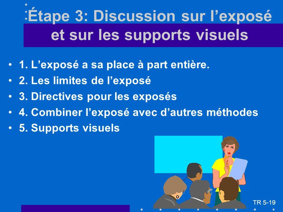 Étape 3: Discussion sur lexposé et sur les supports visuels 1. Lexposé a sa place à part entière. 2. Les limites de lexposé 3. Directives pour les exp