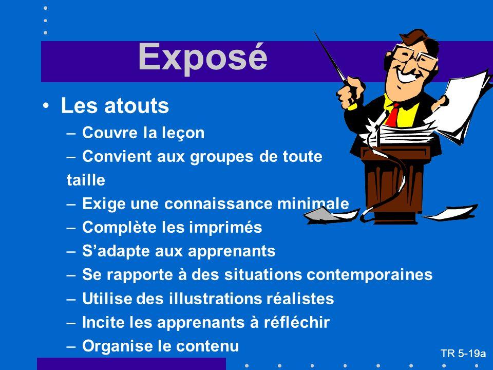 Exposé Les atouts –Couvre la leçon –Convient aux groupes de toute taille –Exige une connaissance minimale –Complète les imprimés –Sadapte aux apprenan