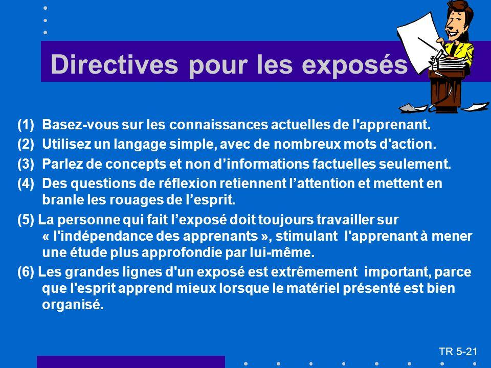 Directives pour les exposés (1)Basez-vous sur les connaissances actuelles de l'apprenant. (2)Utilisez un langage simple, avec de nombreux mots d'actio