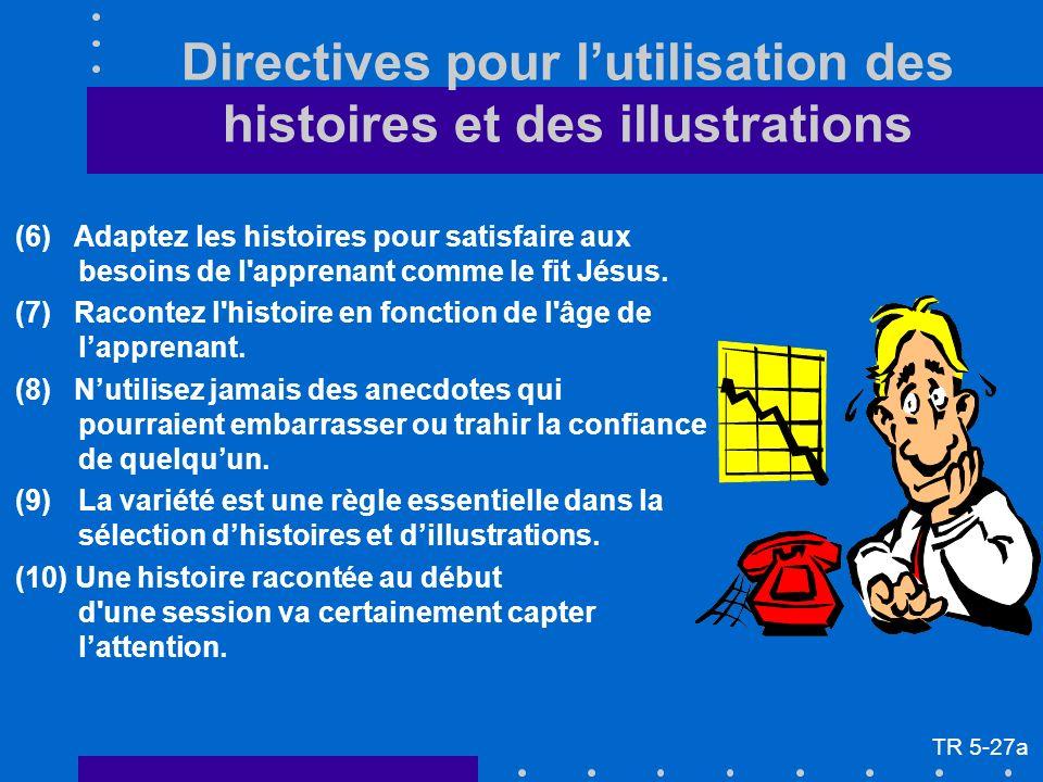 (6) Adaptez les histoires pour satisfaire aux besoins de l'apprenant comme le fit Jésus. (7) Racontez l'histoire en fonction de l'âge de lapprenant. (