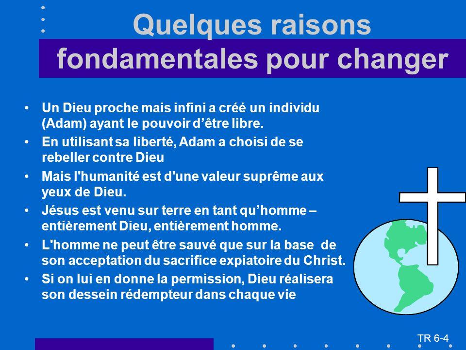 Quelques raisons fondamentales pour changer Un Dieu proche mais infini a créé un individu (Adam) ayant le pouvoir dêtre libre. En utilisant sa liberté