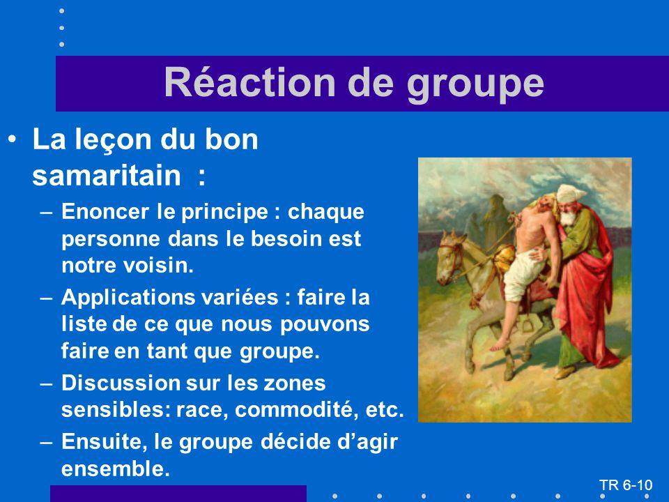 Réaction de groupe La leçon du bon samaritain : –Enoncer le principe : chaque personne dans le besoin est notre voisin. –Applications variées : faire
