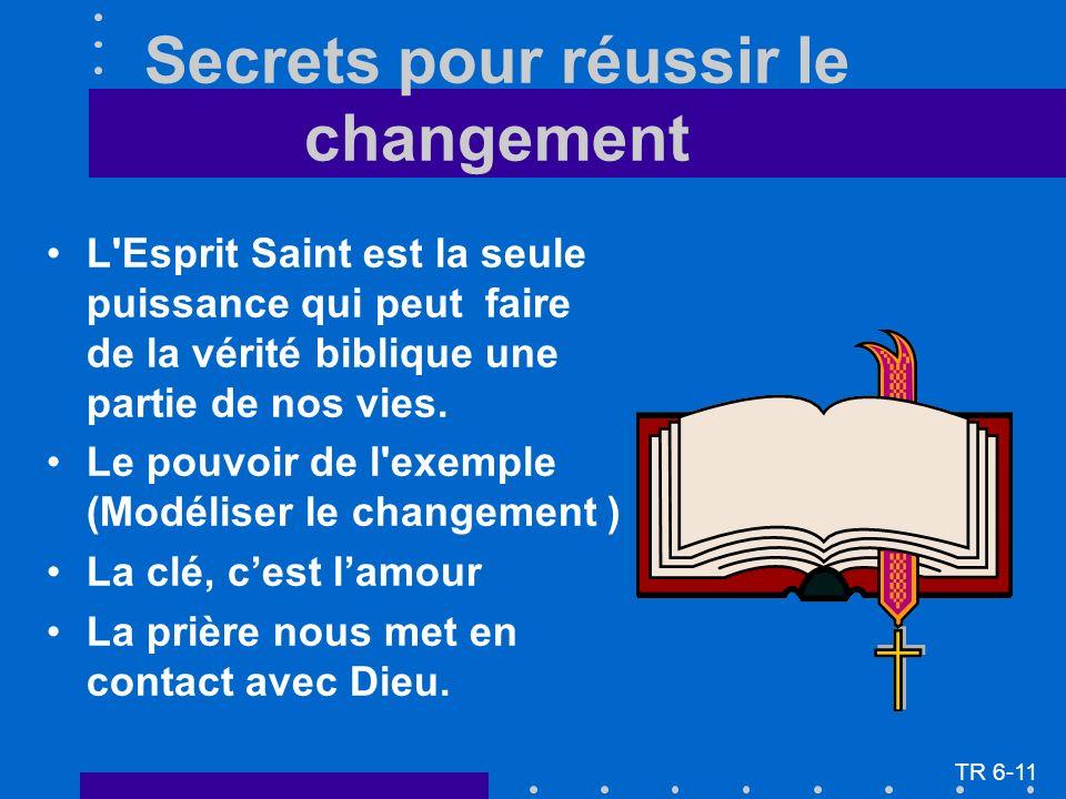 Secrets pour réussir le changement L Esprit Saint est la seule puissance qui peut faire de la vérité biblique une partie de nos vies.