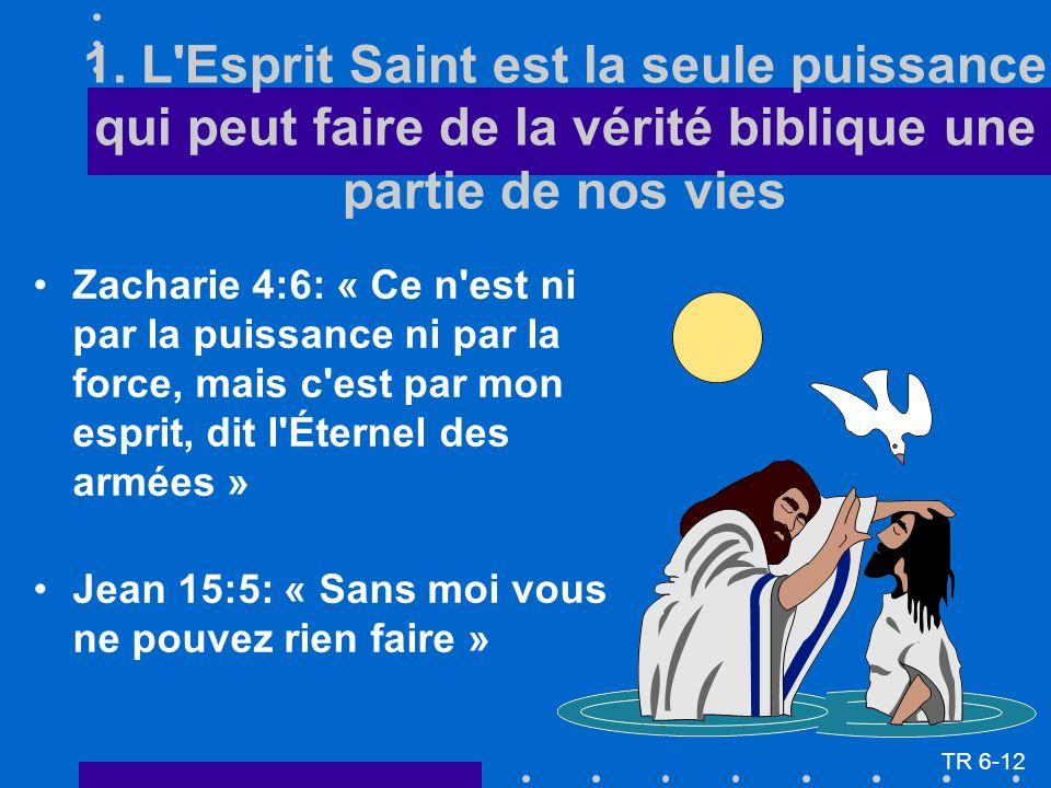 1. L'Esprit Saint est la seule puissance qui peut faire de la vérité biblique une partie de nos vies Zacharie 4:6: « Ce n'est ni par la puissance ni p