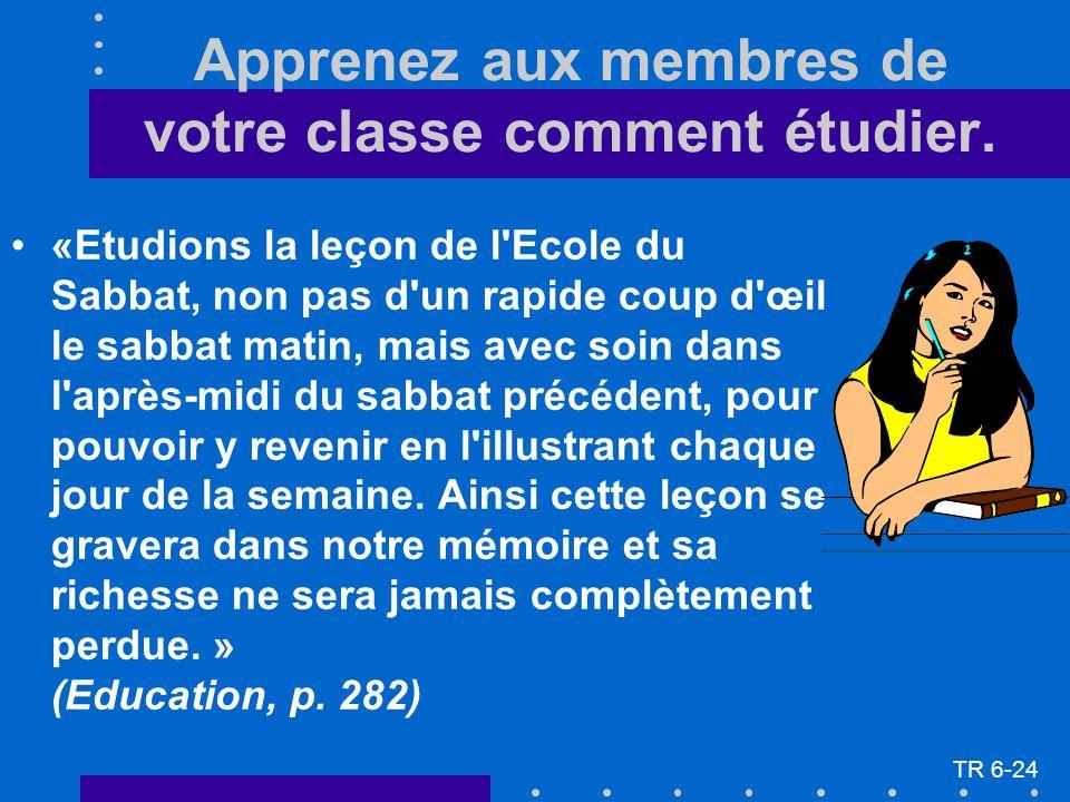 Apprenez aux membres de votre classe comment étudier.