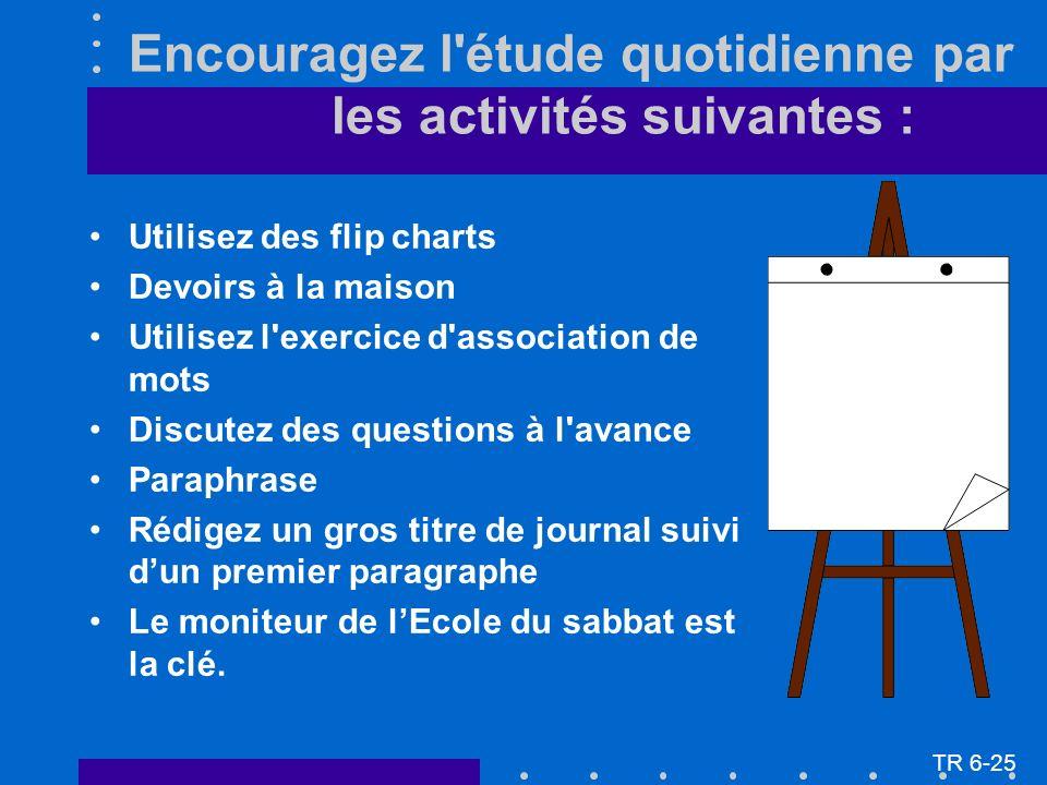 Encouragez l'étude quotidienne par les activités suivantes : Utilisez des flip charts Devoirs à la maison Utilisez l'exercice d'association de mots Di