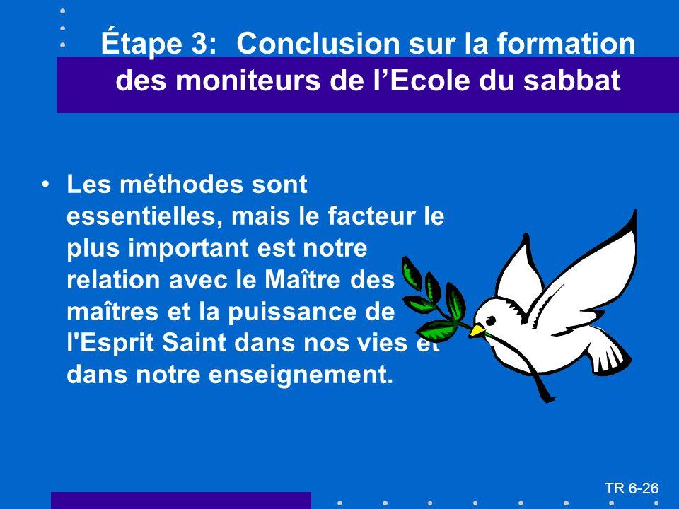 Étape 3: Conclusion sur la formation des moniteurs de lEcole du sabbat Les méthodes sont essentielles, mais le facteur le plus important est notre rel