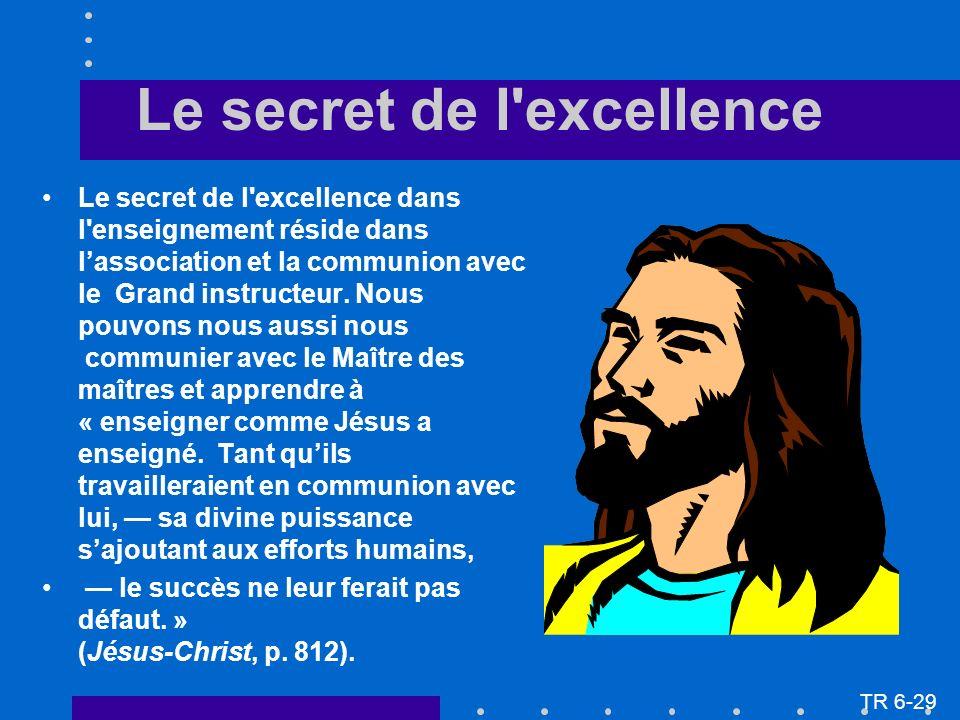 Le secret de l excellence dans l enseignement réside dans lassociation et la communion avec le Grand instructeur.