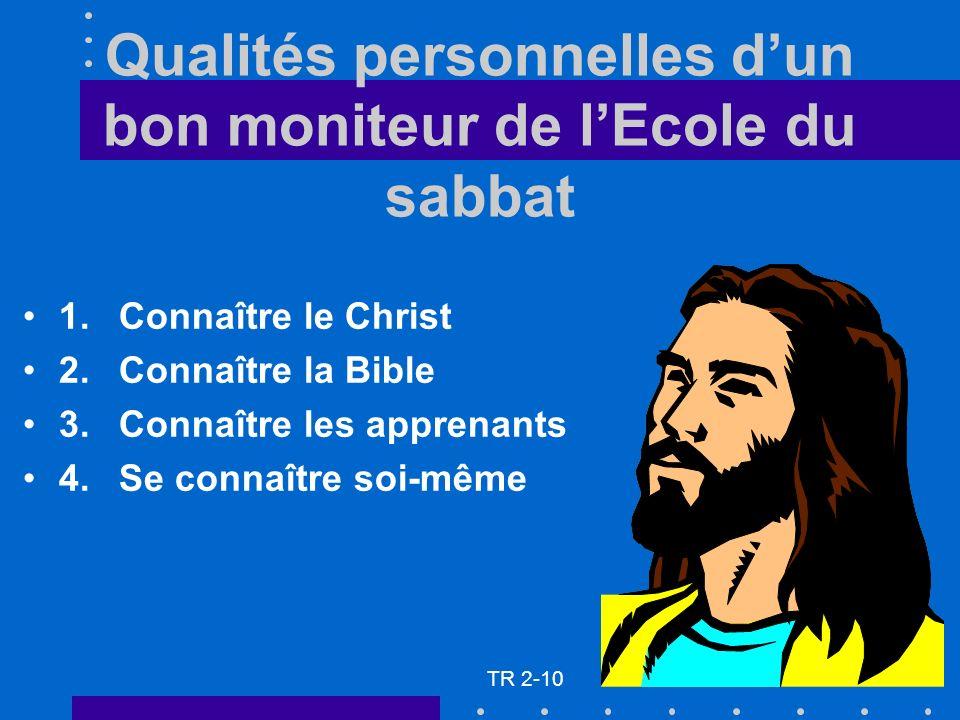 Qualités personnelles dun bon moniteur de lEcole du sabbat 1.Connaître le Christ 2.Connaître la Bible 3.Connaître les apprenants 4.Se connaître soi-même TR 2-10