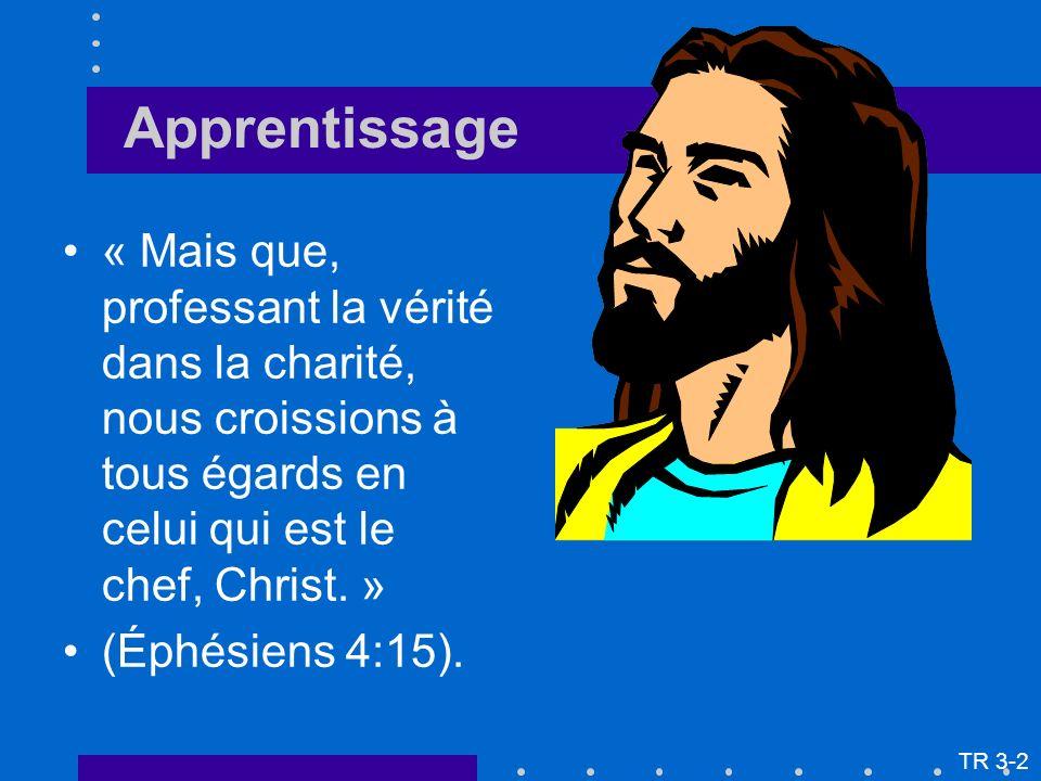 « Mais que, professant la vérité dans la charité, nous croissions à tous égards en celui qui est le chef, Christ. » (Éphésiens 4:15). TR 3-2 Apprentis