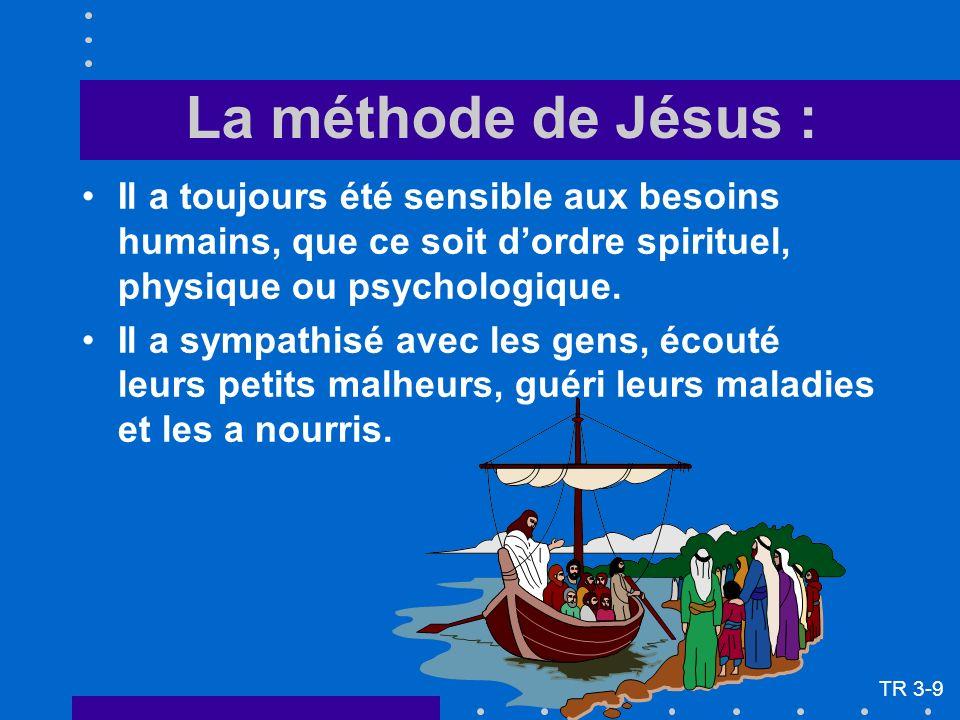 La méthode de Jésus : Il a toujours été sensible aux besoins humains, que ce soit dordre spirituel, physique ou psychologique. Il a sympathisé avec le