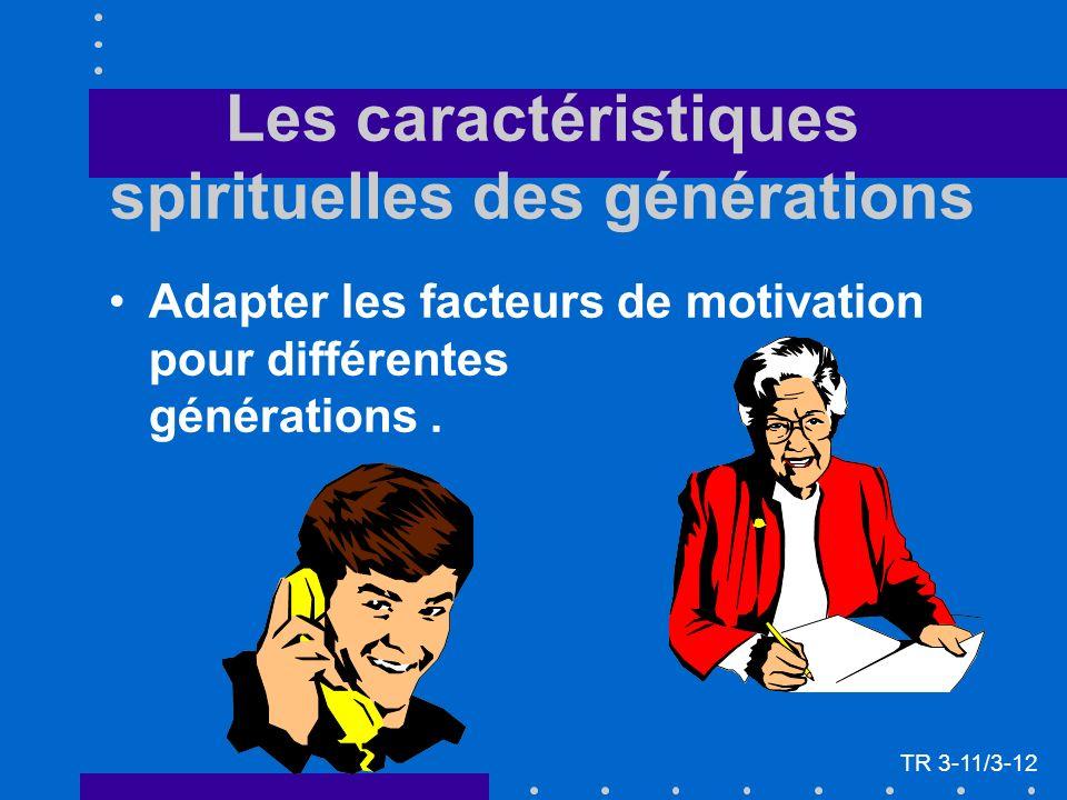Les caractéristiques spirituelles des générations Adapter les facteurs de motivation pour différentes générations. TR 3-11/3-12
