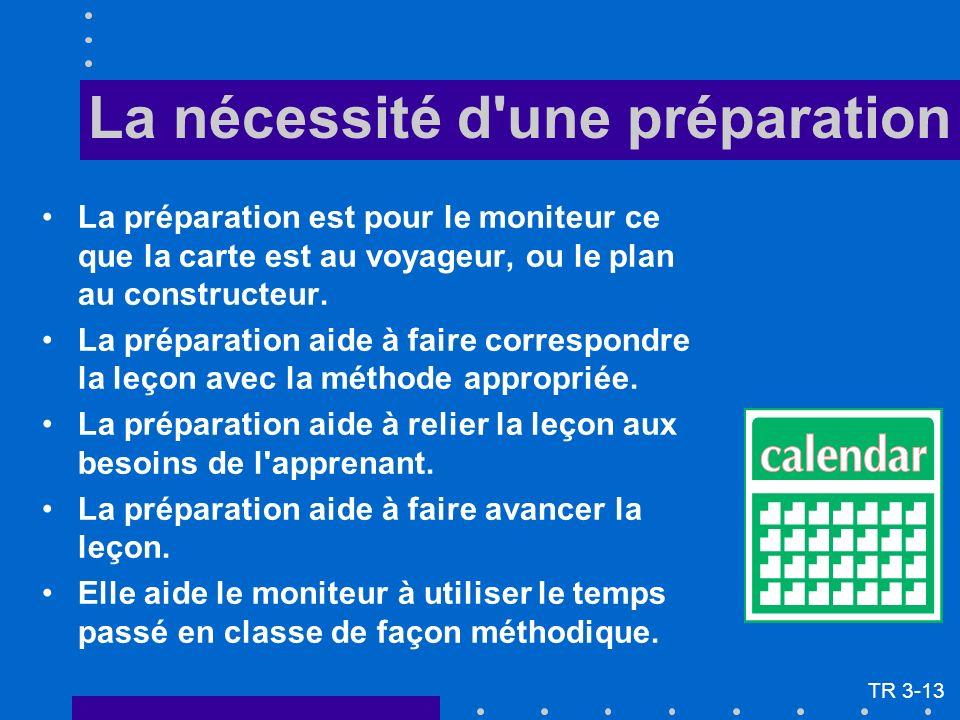 La nécessité d une préparation La préparation est pour le moniteur ce que la carte est au voyageur, ou le plan au constructeur.