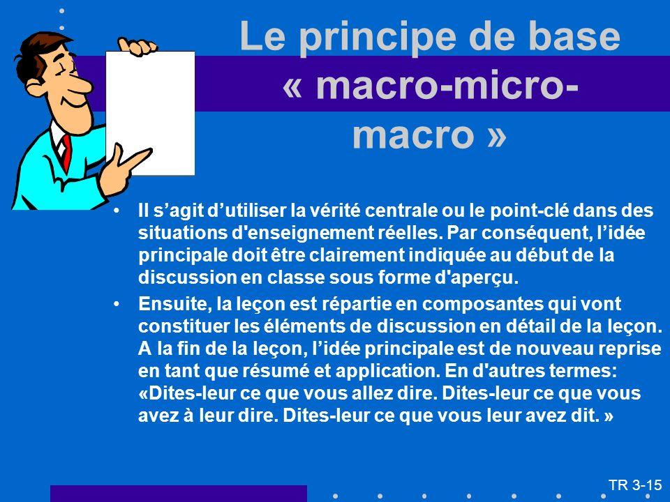 Le principe de base « macro-micro- macro » Il sagit dutiliser la vérité centrale ou le point-clé dans des situations d'enseignement réelles. Par consé