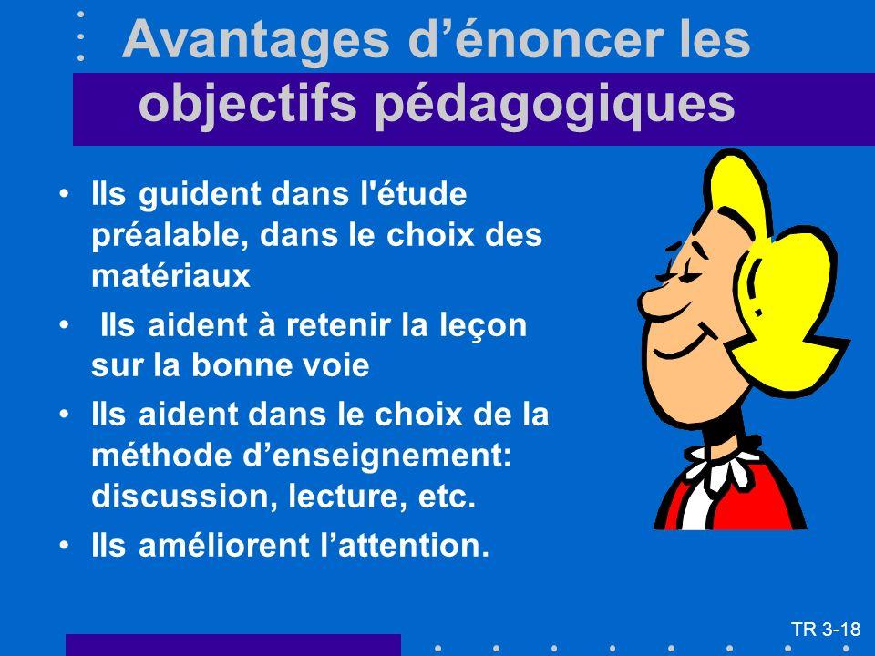 Avantages dénoncer les objectifs pédagogiques Ils guident dans l'étude préalable, dans le choix des matériaux Ils aident à retenir la leçon sur la bon