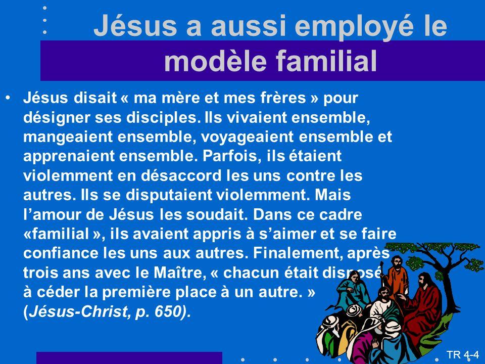Jésus a aussi employé le modèle familial Jésus disait « ma mère et mes frères » pour désigner ses disciples. Ils vivaient ensemble, mangeaient ensembl