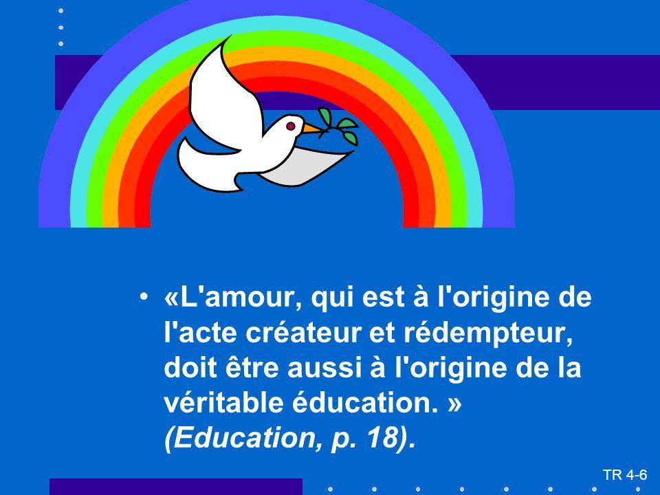 «L'amour, qui est à l'origine de l'acte créateur et rédempteur, doit être aussi à l'origine de la véritable éducation. » (Education, p. 18). TR 4-6