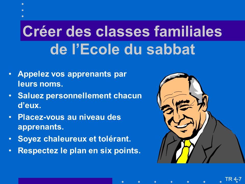 Créer des classes familiales de lEcole du sabbat Appelez vos apprenants par leurs noms. Saluez personnellement chacun deux. Placez-vous au niveau des