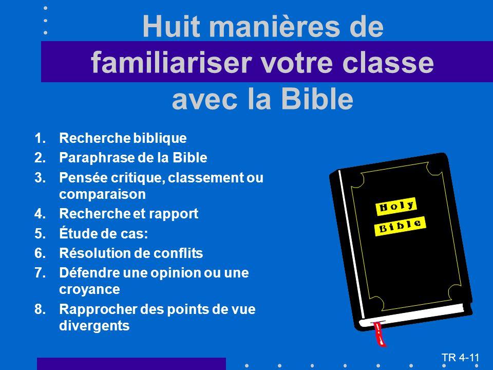 Huit manières de familiariser votre classe avec la Bible 1.Recherche biblique 2.Paraphrase de la Bible 3.Pensée critique, classement ou comparaison 4.