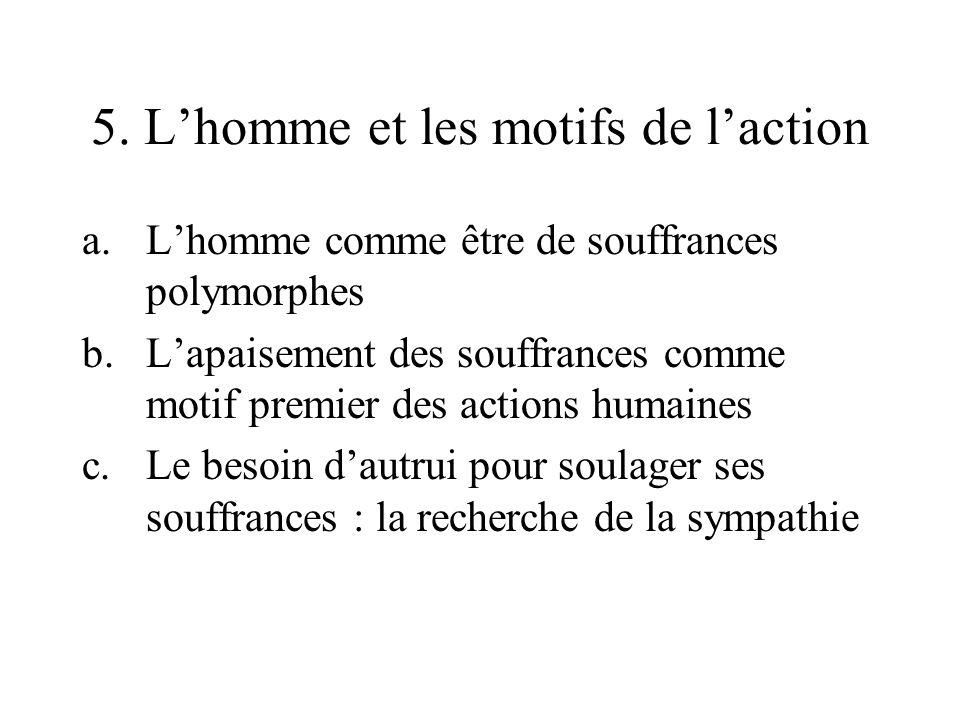 5. Lhomme et les motifs de laction a.Lhomme comme être de souffrances polymorphes b.Lapaisement des souffrances comme motif premier des actions humain