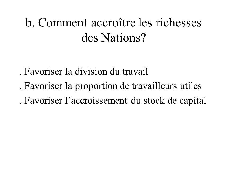 b. Comment accroître les richesses des Nations . Favoriser la division du travail.