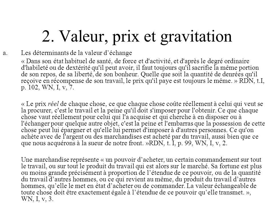 2. Valeur, prix et gravitation a.Les déterminants de la valeur déchange « Dans son état habituel de santé, de force et d'activité, et d'après le degré