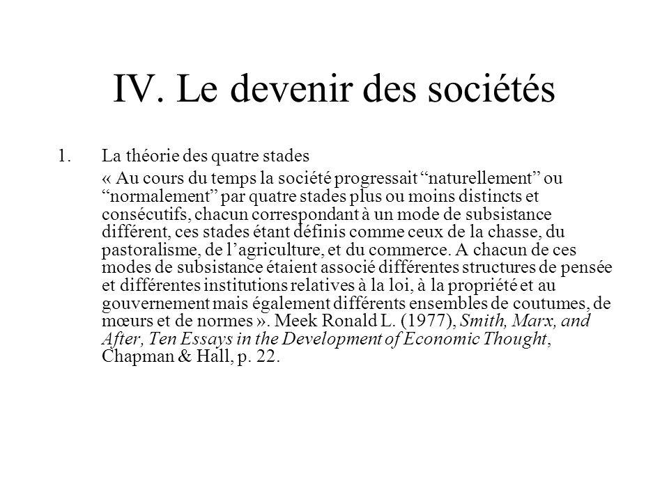 IV. Le devenir des sociétés 1.La théorie des quatre stades « Au cours du temps la société progressait naturellement ou normalement par quatre stades p