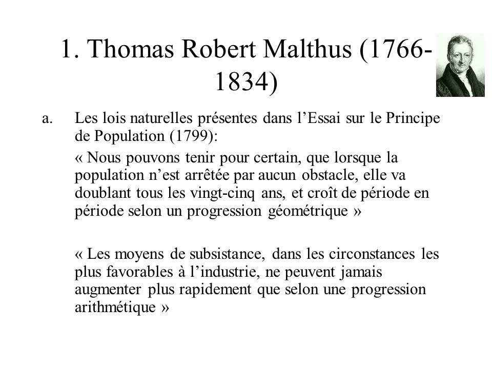1. Thomas Robert Malthus (1766- 1834) a.Les lois naturelles présentes dans lEssai sur le Principe de Population (1799): « Nous pouvons tenir pour cert