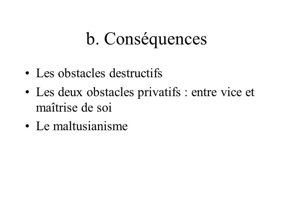b. Conséquences Les obstacles destructifs Les deux obstacles privatifs : entre vice et maîtrise de soi Le maltusianisme