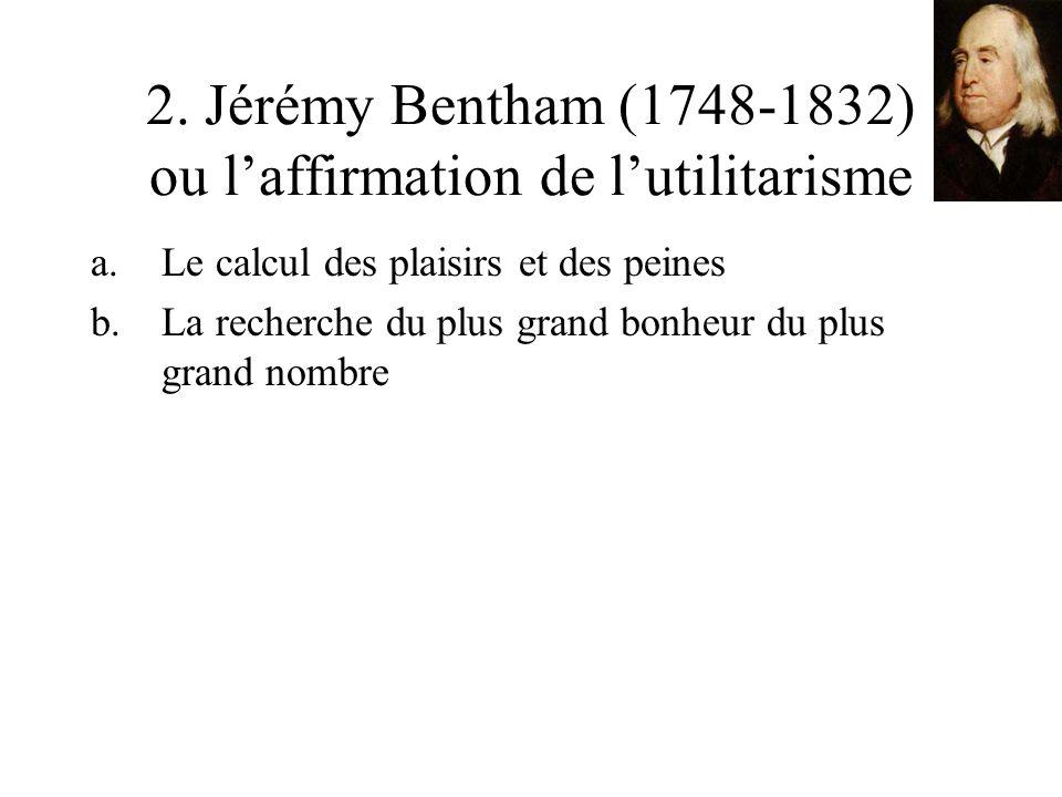 2. Jérémy Bentham (1748-1832) ou laffirmation de lutilitarisme a.Le calcul des plaisirs et des peines b.La recherche du plus grand bonheur du plus gra