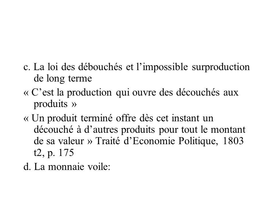 c. La loi des débouchés et limpossible surproduction de long terme « Cest la production qui ouvre des découchés aux produits » « Un produit terminé of