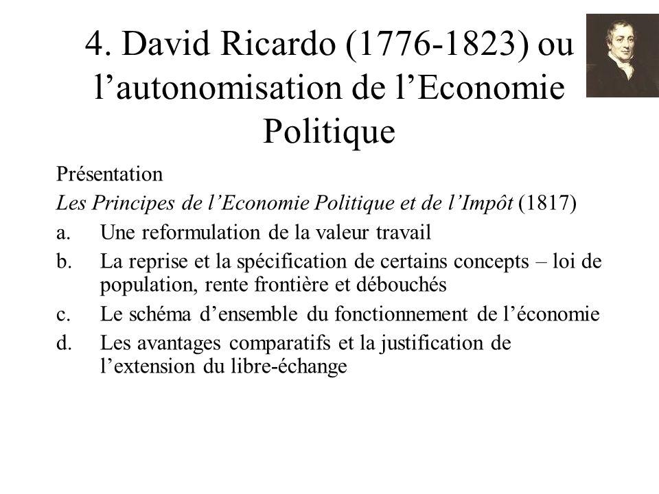 4. David Ricardo (1776-1823) ou lautonomisation de lEconomie Politique Présentation Les Principes de lEconomie Politique et de lImpôt (1817) a.Une ref