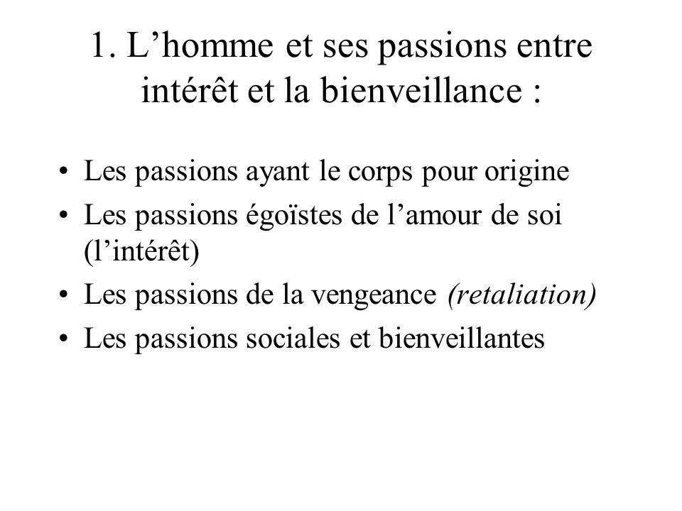 1. Lhomme et ses passions entre intérêt et la bienveillance : Les passions ayant le corps pour origine Les passions égoïstes de lamour de soi (lintérê