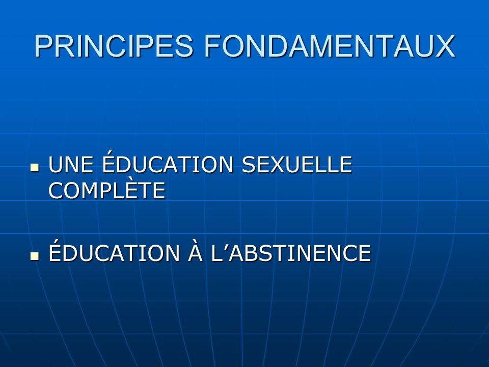 PRINCIPES FONDAMENTAUX UNE ÉDUCATION SEXUELLE COMPLÈTE UNE ÉDUCATION SEXUELLE COMPLÈTE ÉDUCATION À LABSTINENCE ÉDUCATION À LABSTINENCE