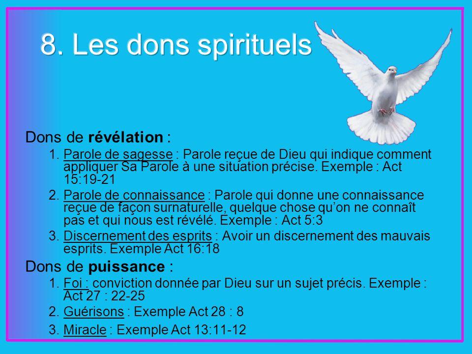 Dons de révélation : 1.Parole de sagesse : Parole reçue de Dieu qui indique comment appliquer Sa Parole à une situation précise.